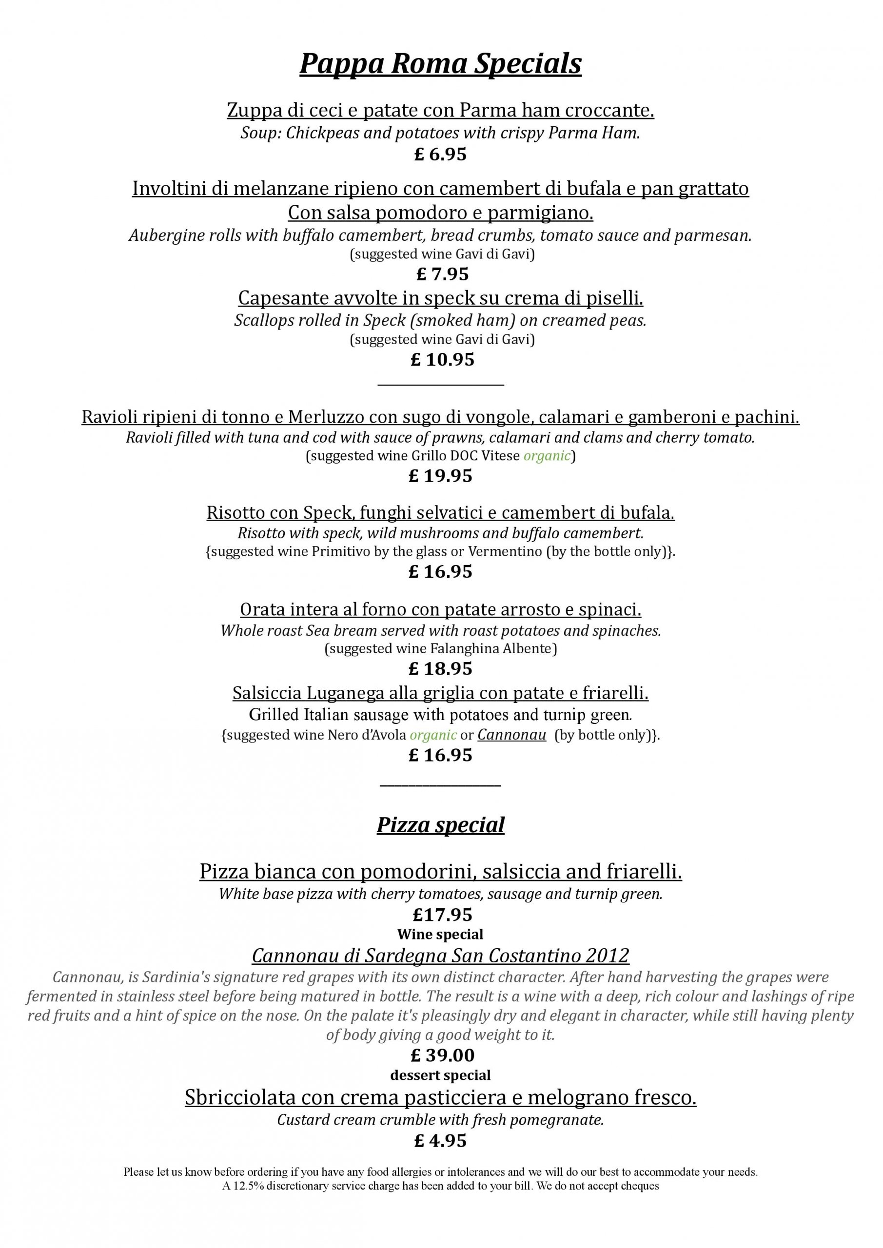 Pappa Roma February Food Specials